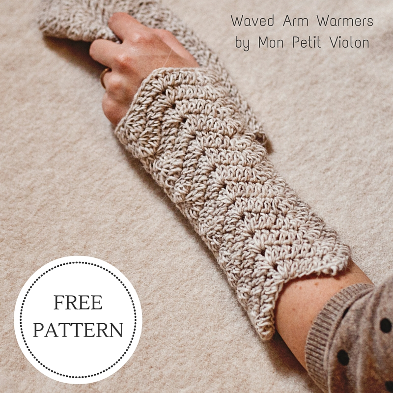 New Free Pattern Waved Arm Warmers Mon Petit Violon
