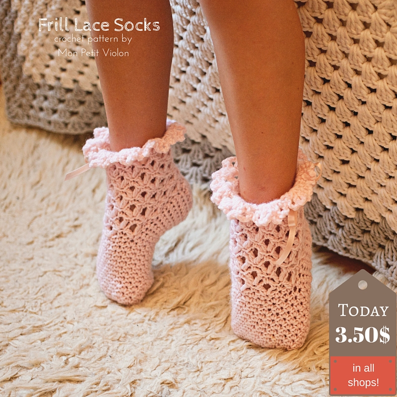 New crochet pattern for Lace Frill Socks (sizes baby to adult ...
